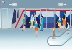 Subway train station platform with people traveling. Stock Image