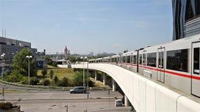 Subway Train Station Railway In Donaucity District Of Vienna City. VIENNA, AUSTRIA - AUGUST 20, 2015: Subway Train Station Railway In Donaucity District Of stock footage