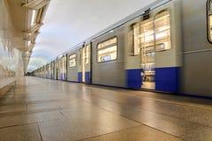 Metro train on platform Stock Photos