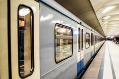 Metro train on platform Stock Image