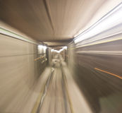 Subway train in tunnel Royalty Free Stock Photos