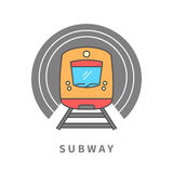Subway train in the tunnel. Line icon. Subway vector sign. Design element for poster, brochure. Graphic template for your design vector illustration