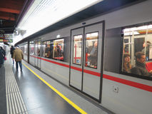 Subway train in Vienna Stock Photo