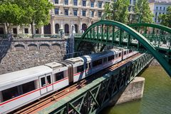 Subway Train on Zollamt Bridge in Vienna Stock Photos