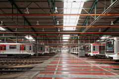 Subway trains in Depot Hostivar, Prague Stock Images