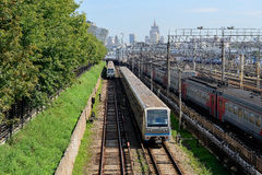 Subway trains on the Filevskaya subway line, Moscow, Russia. Stock Photography