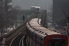 Subway trains in Hamburg city Stock Images