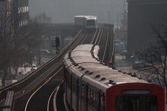 Subway trains in Hamburg city. Subway trains travelling on tracks through Hamburg city, Germany Stock Images