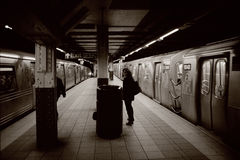 Subway Trains in NYC Stock Photos