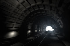 Subway tunnel. 3d render: illustration with glowing end of subway tunnel with motion blur Stock Photos