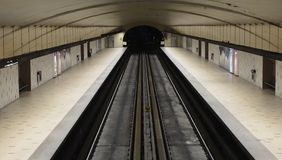 Subway Tunnel. This image shows a subway tunnel and was taken in Montreal, Canada Royalty Free Stock Photography