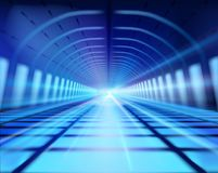 Long subway tunnel. Vector illustration. Royalty Free Stock Photo