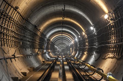 The subway tunnel. Focus on the center of the frame royalty free stock image