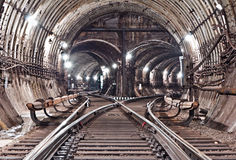 Subway tunnel. Kiev, Ukraine. Kyiv, Ukraine Royalty Free Stock Photo