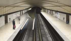 Subway Tunnel Train Arrival. This image shows a subway tunnel and was taken in Montreal, Canada Stock Photo