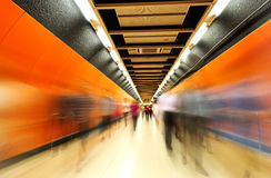 The subway tunnels,Motion Blur.Hong Kong. The subway tunnels,Motion Blur Stock Photo