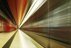 Subway tunnels. The subway tunnels in the station Stock Photo