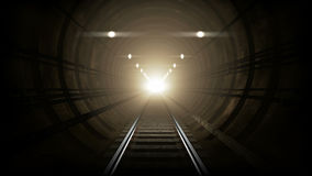 Subway underground corridor. A 3D rendered image of a subway tube. An underground empty corridor whit an old rail track. In the distance is a white bright light royalty free illustration
