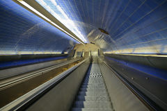 Subway/underground/Metro escalator stairs. Stock Photos