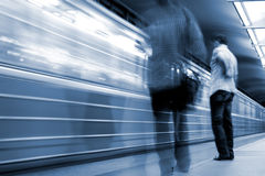 Subway. Underground station, motion blur. Stock Photos