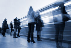 Subway. Underground station, motion blur Royalty Free Stock Photos