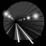 Subway underground train with lights on the railway track in the tunnel. Black and white Royalty Free Stock Photos
