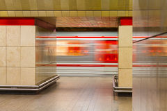 Subway vehicle motion blurred Royalty Free Stock Photos