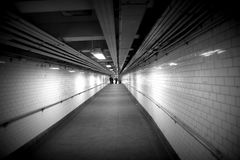 Subway walkway tunnel in NYC stock photos
