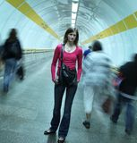 Subway - Young Woman Standing In A Subway Stock Photography