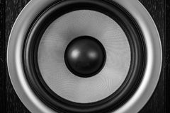 Subwoofer dynamic membrane or sound speaker as music background, Hi-Fi loudspeaker close up stock photos