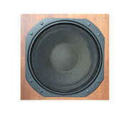 Subwoofer Loud speaker system isolated on white. Subwoofer Loud speaker system with round black grill and wooden finish isolated on white background stock photo