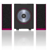 Subwoofer and speakers. Two stylish speakers and subwoofer on a white background Stock Images