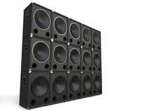 Subwoofer speakers stacked - studio shot Stock Photos