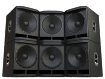 Subwoofer speakers wall stacked. Isolated on white background Royalty Free Stock Image