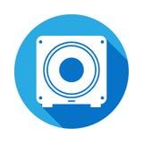 Subwooferikone mit langem Schatten Element der Musikillustration Erstklassiges Qualitätsgrafikdesignzeichen Zeichen und Symbole k lizenzfreie abbildung