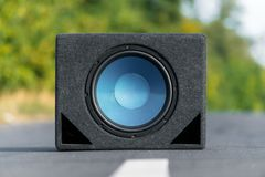 Subwoofers On The Road Outdoors Stock Photo