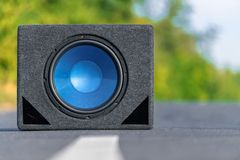 Subwoofers on the road outdoors Stock Images