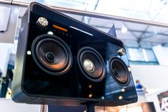 Subwoofers on the road outdoors Royalty Free Stock Image