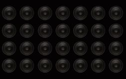 Subwoofers Wall. Black wall with Black Bass Speakers Royalty Free Stock Photography