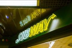Subyway在斯图加特Stadtmitte地铁站O的餐馆商标 库存照片