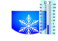 Subzero temperature on the thermometer Stock Image