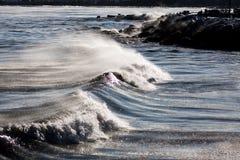 Subzero vågrullning på den Lake Michigan kusten royaltyfri bild