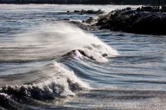 Subzero Wave Rolling on Lake Michigan Shore Royalty Free Stock Image
