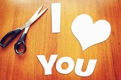 Sucatas de papel com confissão do amor Imagens de Stock