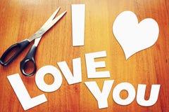 Sucatas de papel com declaração do amor Imagens de Stock Royalty Free