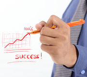 Succès d'écriture d'homme d'affaires avec le diagramme de bénéfice Image libre de droits