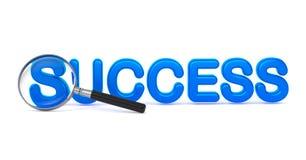 Succès - 3D bleu Word par une loupe. Images stock