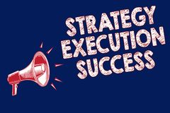 Succès d'exécution de stratégie des textes d'écriture de Word Concept d'affaires pour mettre le plan ou la liste et début la fais illustration stock