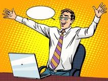 Succès d'homme d'affaires travaillant sur l'ordinateur portable illustration stock
