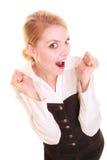 Succès dans le travail Femme d'affaires célébrant la promotion Image stock